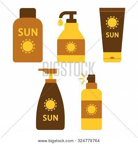 Set Of Sunscreen And Suntan Cream Or Oil. Vector Illustration
