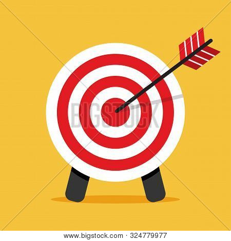 Target Icon. Arrow Hitting A Target. Business Concept. Vector Illustration