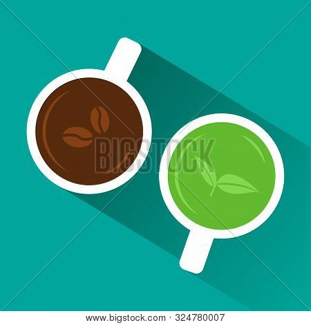 Coffee Vs Tea. View From Above. White Cup Of Coffee And Green Tea With Shadow On Turquoise Backgroun