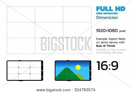 High Definition 1920 By 1080 Dimension Resolution With Rule Of Thirds And Demo Devices, 16:9 Aspect