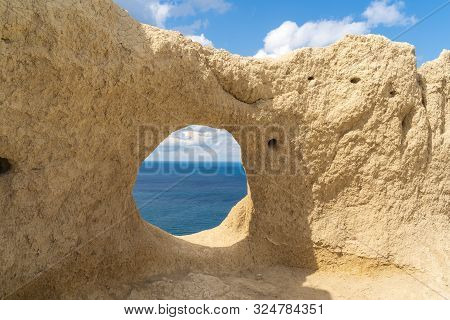 The Rock With Swallow's Nests And View To The Black Sea, In Anapa, Russia.