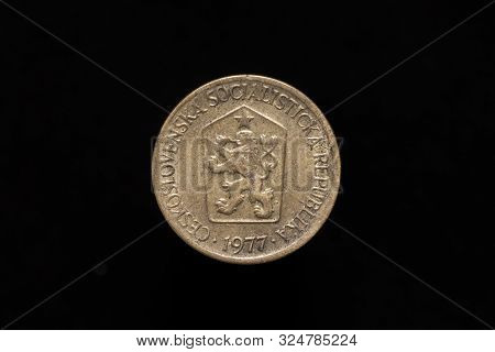 Czechoslovak Socialist Republic Old 1 Koruna Coin From 1977, Obverse Showing The Coat Of Arms Of Cze