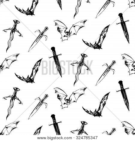 Hand Drawn Antique Magic Seamless Pattern. Vector Sketch Endless Illustration With Bats, Ancient Swo