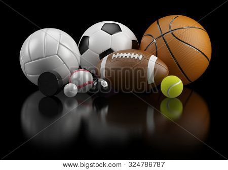 Group of Sports balls: football basketball volleyball baseball soccer tennis billiard golf ball and hockey puck on black background - 3d rendering