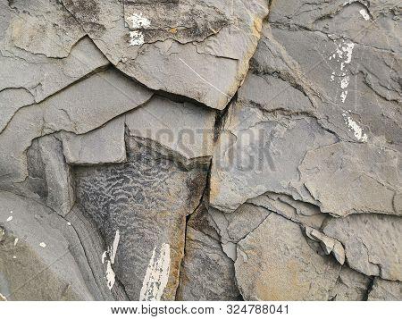 Texture Of Rocks. Gray Mountain Rocks Background. Gray Rock Texture. Rough Structure. Rock Backgroun