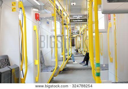 Berlin Germany - June 10, 2019: Unidentified People Travel By Metro Subway In Berlin Germany