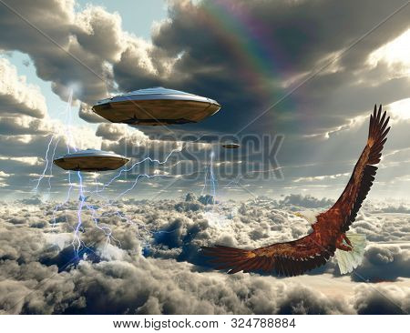 Flying spacecrafts and eagle in cloudy sky. 3D rendering