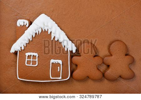 The Hand-made Eatable Gingerbread House, Little Men On Gingerbread Background