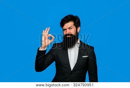 Successful Businessman In Formal Suit Shows Ok Sign. Business, Success And Leadership Concept - Seri