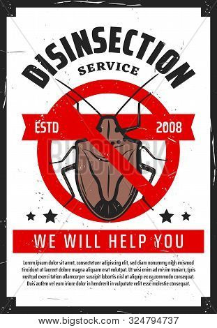 Pest Control Service, Professional Home Disinsection Vintage Poster. Vector Disinsection And Extermi