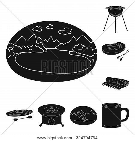 Vector Illustration Of Barbeque And Rest Logo. Set Of Barbeque And Nature Stock Symbol For Web.