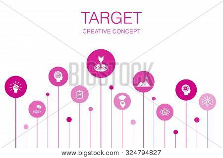 Target Infographic 10 Steps Template. Big Idea, Task, Goal, Patience Icons