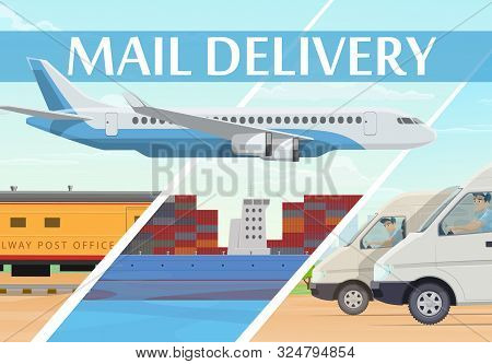 Mail Delivery Post Logistics And Freight Transportation Service, Vector. Air Mail Delivery, Train An