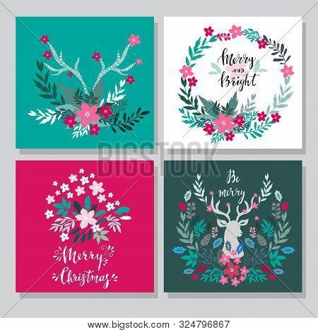Set Of Hand Drawn Christmas Cards  With  Lettering, Christmas Wreath, Raindeer, Rowan, Mistletoe,  C