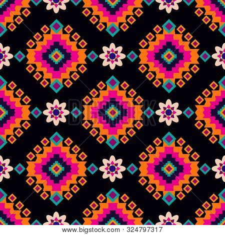 Geometric tribal simple print. Abstract seamless mexican pattern.  Colorful abstract  latino  texture. Repeating aztec geometric tiles. Vector illustration. poster