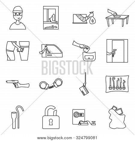 Isolated Object Of Thug And Robbery Icon. Collection Of Thug And Fraud Stock Vector Illustration.