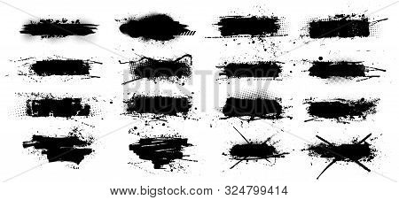 Ink Splashes Stencil - Vector Set. High Quality Manually Traced. Black Inked Splatter Dirt Stain Spl