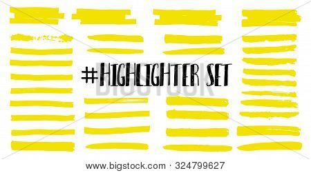 Highlight Brush Lines. Marker Color Stroke, Brush Pen Hand Drawn Underline. Yellow Watercolor Hand D
