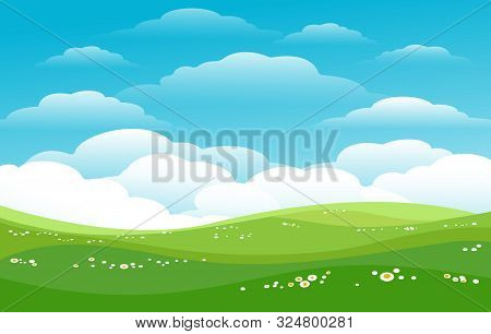 Blue Skies Green Hills Horizon. Sunny Pastures, Lawn Fields With Skies, Daisies And Cute Clouds Vect