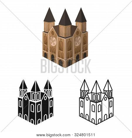 Vector Illustration Of Chapel And Vietnamese Symbol. Collection Of Chapel And Cathedral Stock Symbol