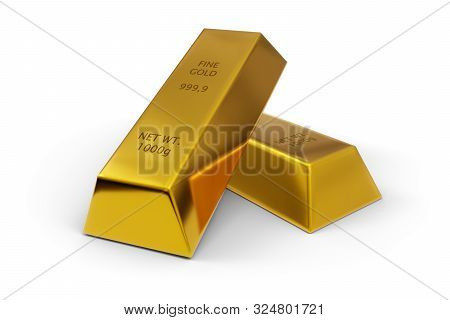 Two Shiny Gold Ingots Or Bars Over White Background - Precious Metal Or Money Investment Concept, 3d