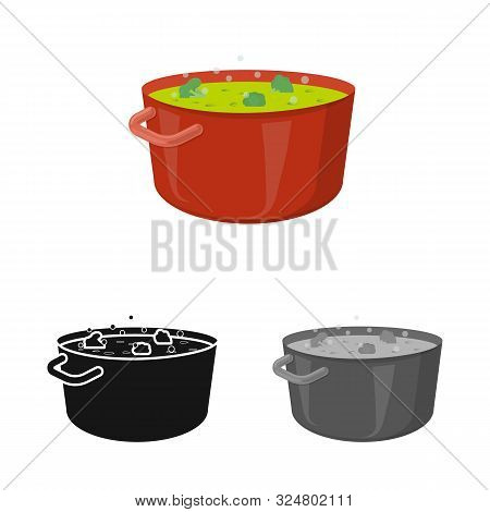 Isolated Object Of Saucepan And Broccoli Sign. Set Of Saucepan And Vegetable Stock Vector Illustrati