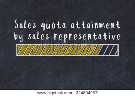 Chalk Drawing Of Loading Progress Bar With Inscription Sales Quota Attainment By Sales Representativ