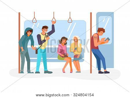 Diverse Passengers Using Their Mobile Devices In Public Transport. Pickpocket Takes A Wallet From A