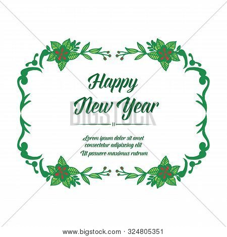Elegant Of Card Happy New Year, With Graphic Design Of Red Flower Frame. Vector