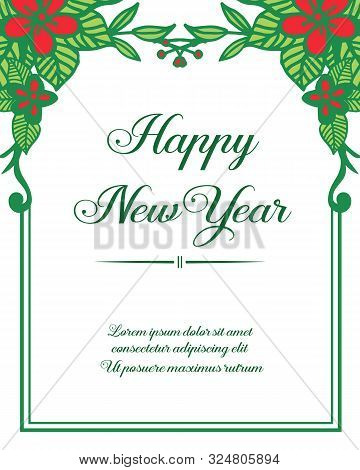 Place For Your Text, Happy New Year, With Ornate Of Green Leafy Flower Frame. Vector