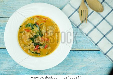 Thai Curry Red Soup. Thailand Traditional Red Curry With Pork Or Chicken Menu In Thai Name Is Panang
