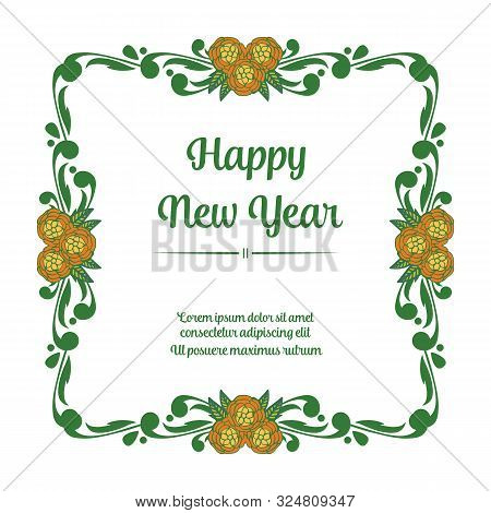 Drawing Of Colorful Wreath Frame, Place For Your Text, Happy New Year. Vector