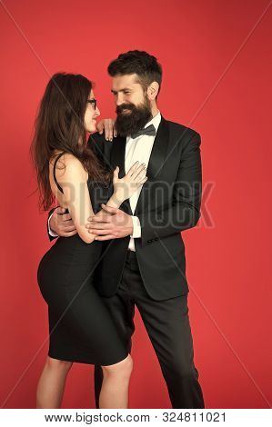art experts of bearded man and woman. romantic date for art expert couple. Couple in love on date. esthete. Romantic relationship. Formal couple. Formal party. art experts team. date meeting. In love. poster