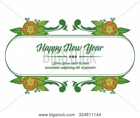 Template Design Of Card Happy New Year, With Pattern Of Colorful Flower Frame. Vector