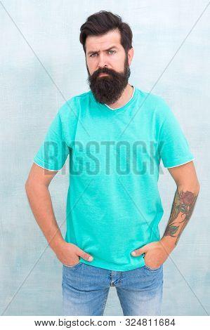 Find Best Beard Design Shape For Facial Hair. Bearded Hipster Brutal Guy. Having Nice Beard Is Disti
