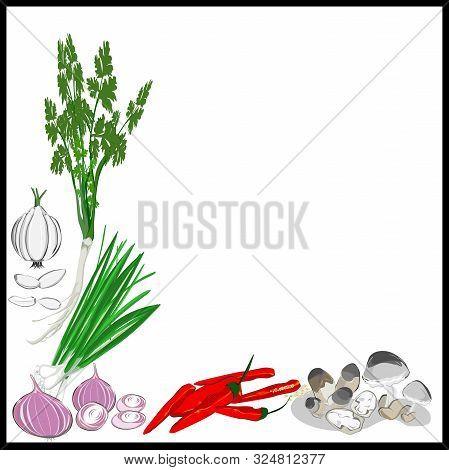 Frame, Fresh Vegetables, Thai Food Seasonings, Mushrooms, Garlic, Red Onions, Coriander, Red Peppers