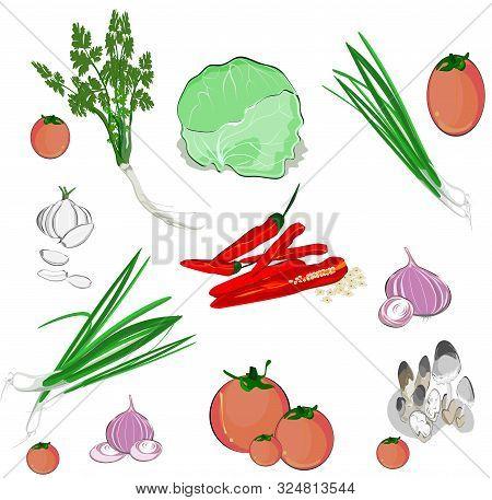 Fresh Vegetables, Thai Food Seasonings, Mushrooms, Garlic, Red Onions, Coriander, Red Peppers, Sprin
