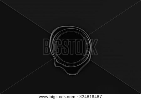 Black Wax Seal With Blank Space For Your Design On A Black Paper Background. 3d Rendering