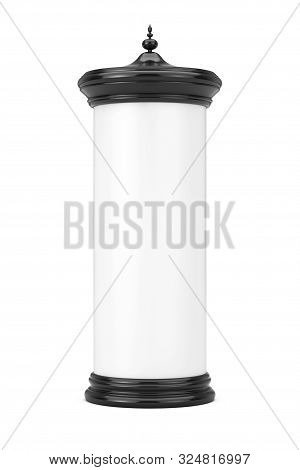 Empty Blank Cylindrical Advertising Column Billboard Mockup With Free Space For Your Design On A Whi