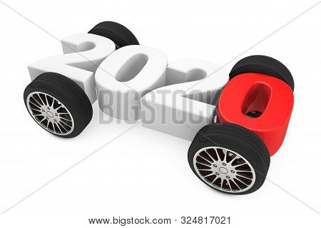 2020 Year Concept With Car Wheels On A White Background. 3d Rendering
