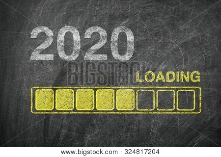 Progress Bar Showing Loading Of 2020 New Year On Chalkboard Extreme Closeup