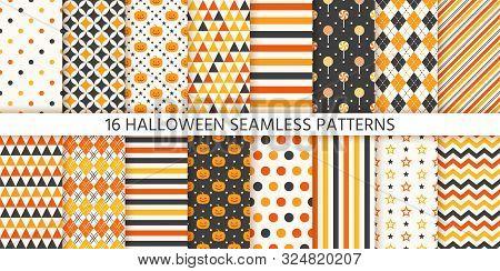 Halloween Pattern. Seamless Haloween Background. Vector. Texture With Pumpkin Face, Polka Dot, Star