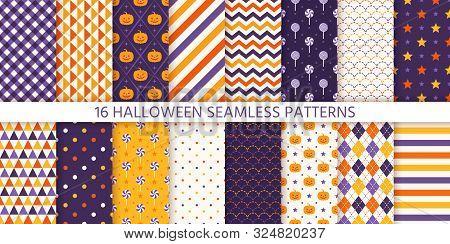 Halloween Pattern. Seamless Texture. Vector. Haloween Background With Pumpkin Face, Candy, Polka Dot