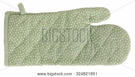 Lovely modern mitt oven glove green with pots dots