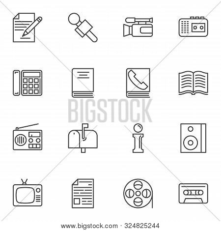 Communication Line Icons Set. Linear Style Symbols Collection, Outline Signs Pack. Vector Graphics.