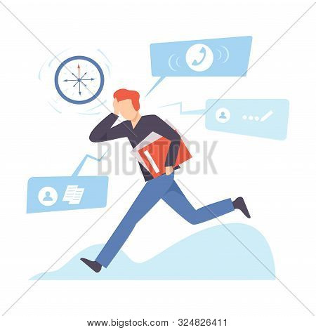 Man Runs With A Folder And Clings To His Head. Vector Illustration.