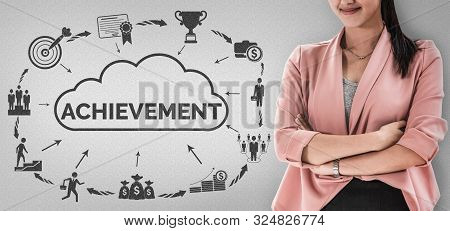 Achievement And Business Goal Success Concept - Creative Business People With Icon Graphic Interface