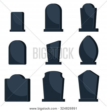 Set Of Black Gravestones On Graves For A Cemetery.