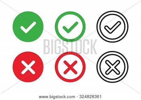 Checkmark Cross On White Background. Isolated Vector Sign Symbol. Checkmark Icon Set. Checkmark Righ