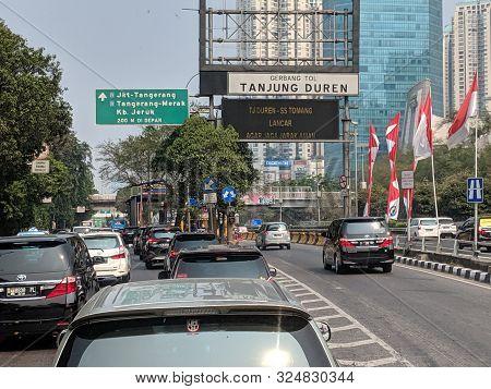 Jakarta, Indonesia - August 17, 2019: Traffic On Jalan S Parman In Slipi District.